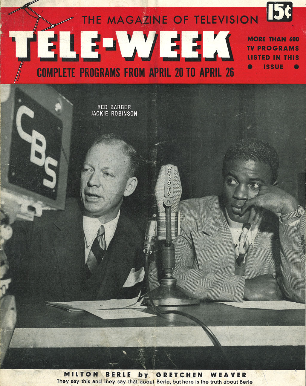 "<em>Tele-Week</em> ""The Magazine of Television"" with Jackie Robinson and Red Barber cover, c. 1950's<br/>Jackie Robinson Museum Collection"