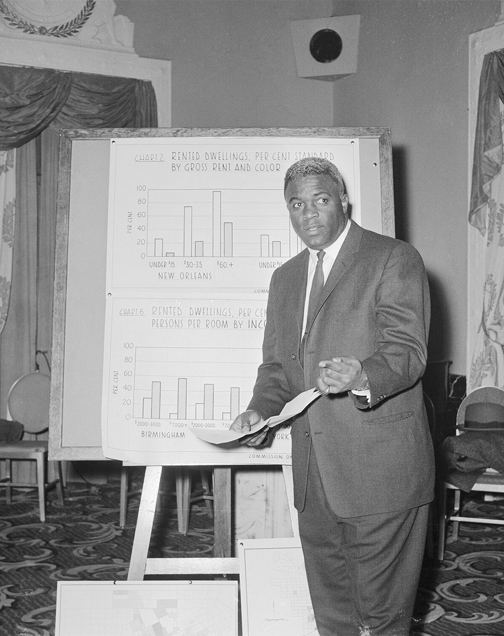 Jackie Robinson presents on housing discrimination before the Federal Civil Rights Commission, 1959<br/>Courtesy of the Bettman Archive, Getty Images