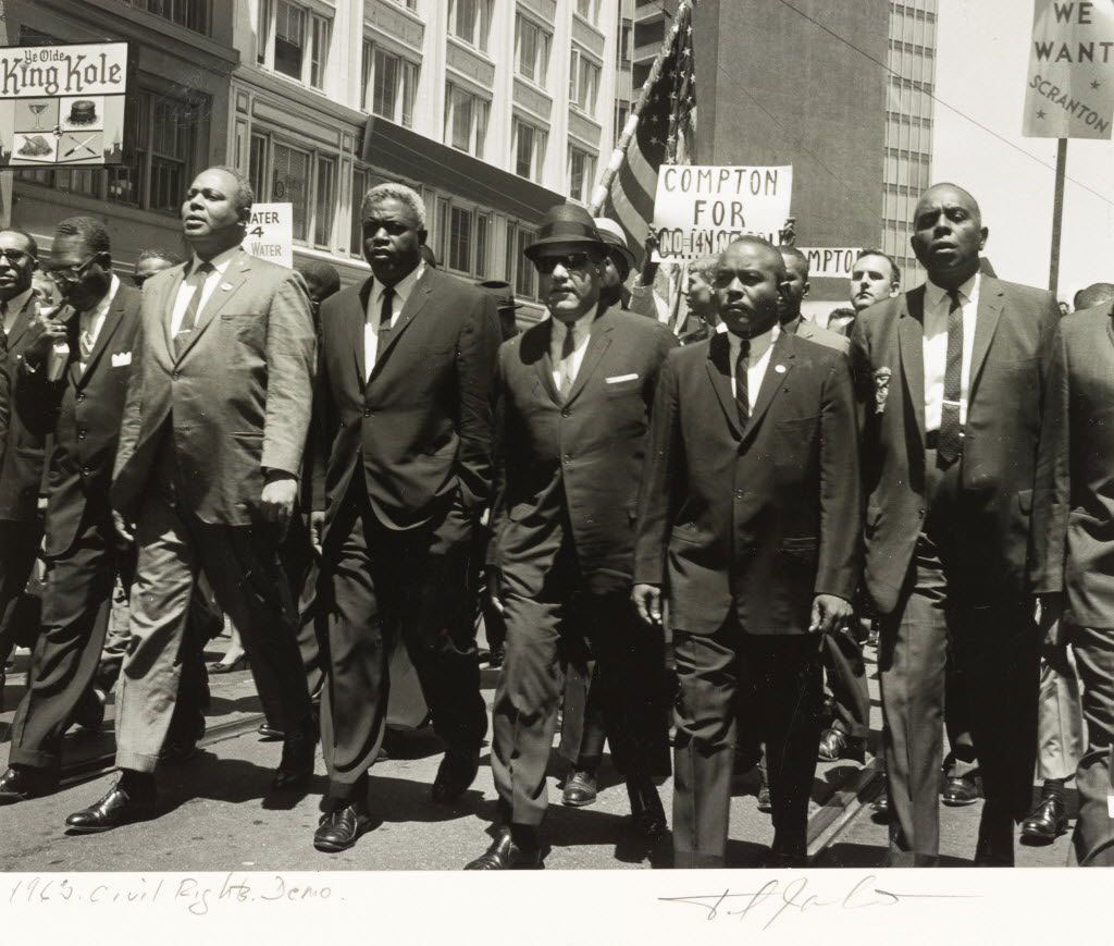 Jackie Robinson and James Farmer marching outside of 1964 Republican National Convention