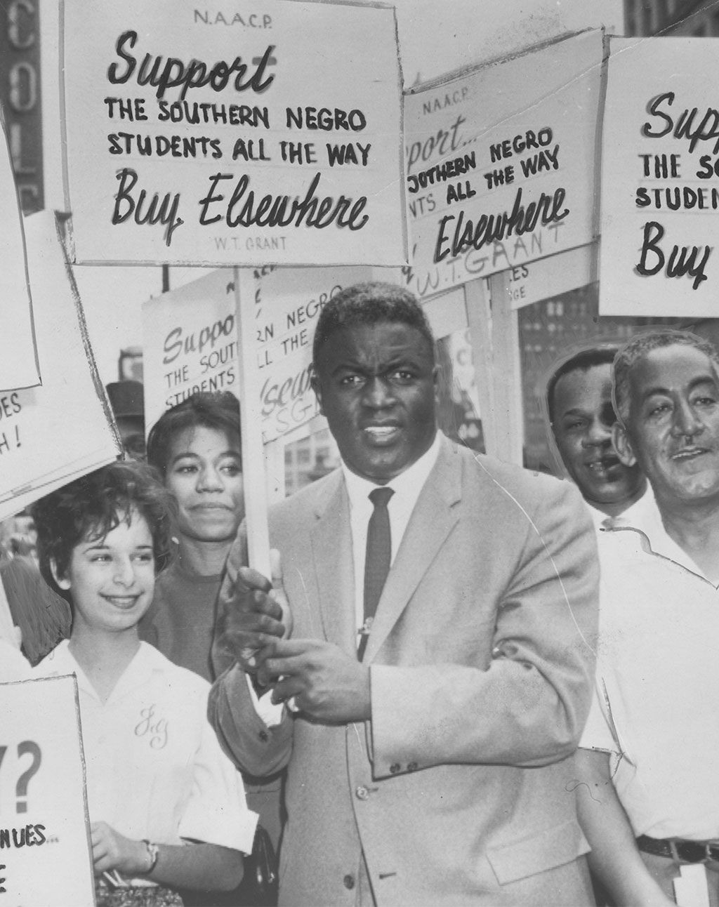 Jackie Robinson at an NAACP rally in Wisconsin to support Southern African American students, 1955<br/>Courtesy of Afro American Newspapers, Gado, Getty Images