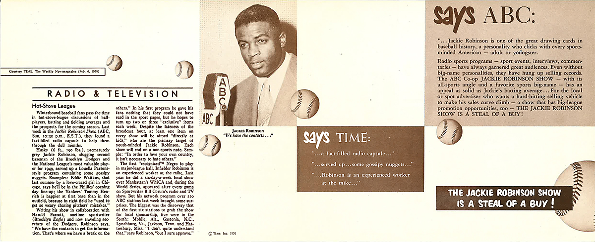 Jackie Robinson Radio Show Press Pack Advertising Insert, 1950<br/>Jackie Robinson Museum Collection
